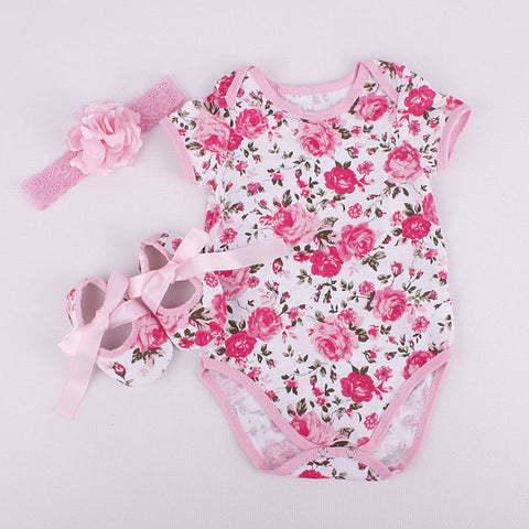 Summer New Fashion Toddler Infant Baby Girl Clothes Set Romper +Shoe+Headband 3Pcs Outfits Set Cute Baby Girls Clothes