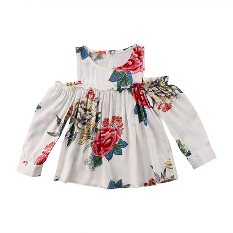 Summer Newborn Baby Girl Clothing Tops Flower Cute Long Sleeve Floral Off Shoulder Party Sundress Clothes Baby Girls 6-24M