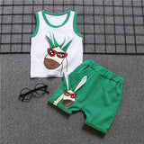 Summer baby boy clothes animal design vest set outfits casual sports suit newborn infant baby boy Comfortable cool clothing sets