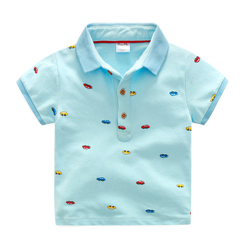 Summer cotton covered colorful cartoon c taxi printing turn down coll baby boys polo shirt kid tee children tops 90-135cm