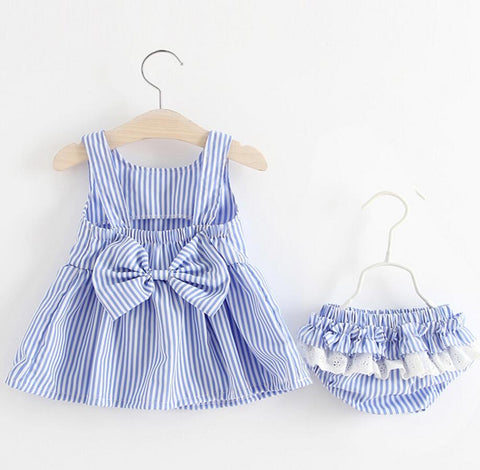 Summer newborn baby clothing dress + knickers suit cotton fashion striped bow infanta dresses tutu pants 2 pcs set