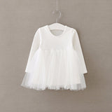 Full Sleeve Baby Dress 2018 Cotton 1 Year Birthday Dress Casual Solid Baby Girl Clothes Draped Princes Ball Gown