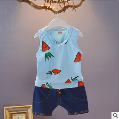 0f02c7e50 T-shirt + shorts 2 piece set 2018 new summer baby girl boy clothes cotton  sleeveless vest baby boys clothing suits baby 0-2 year