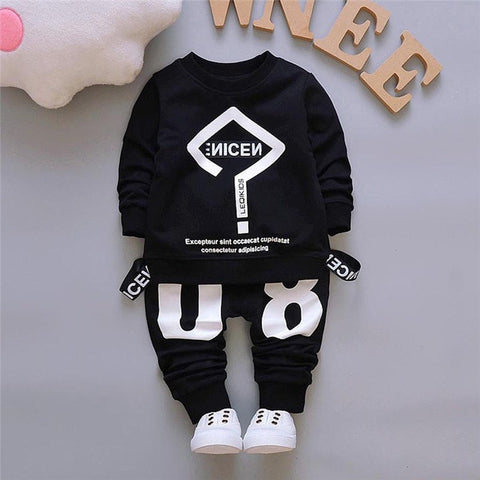 2018 FASHION Toddler Baby Kid Boy Girl Outfits Letter Printing T-shirt Tops+Pants Clothes Set 0720