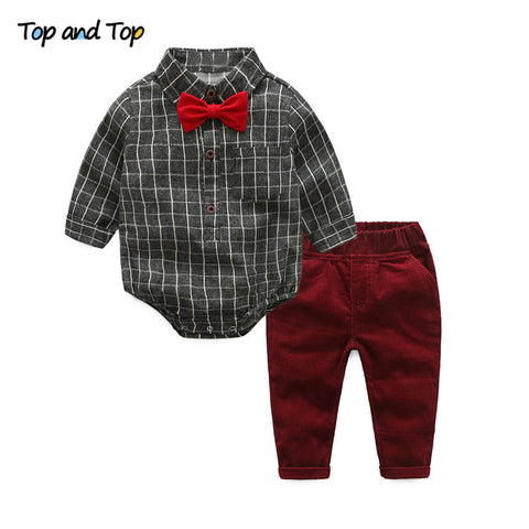 Baby Boy Clothes Newborn Clothing Sets Broadcloth Cotton Gentleman Fashion Plaid Rompers + Jeans 2Pcs/set
