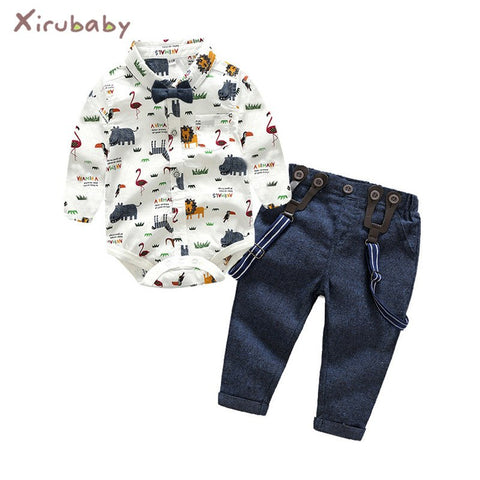 Baby Boy Clothing Set Newborn Baby Boys Gentleman Clothes Infant Long Sleeve Shirt+Overalls 2PCS Bebes Outfits Set