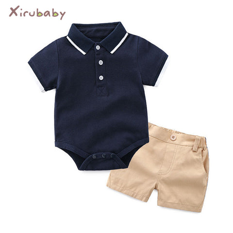 Baby Clothing Sets 2018 Autumn Infant Boy Clothes Newborn Gentleman Boy Striped Tie Rompers+Shorts 2PCS Outfits Sets