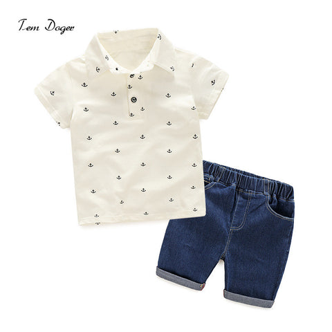( )New Fashion Kids Clothes Boys Summer Clothes Print Polo Shirt + Shorts Jeans Boys Clothing Sets Toddler Boy Clothes