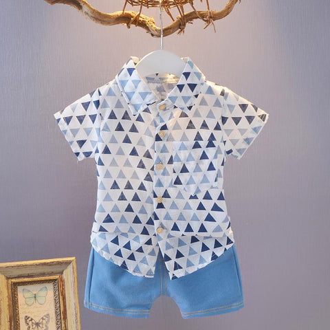 177b1ced9 Toddler Baby Boys Short Sleeve Geometry Print T Shirts+Denim Shorts Set  Outfit Toddler Clothes Costume Nice Children's Outfits