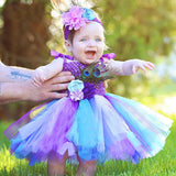 Toddler Girls Fancy Princess Tutu Dress Holiday Flower Double Layers Fluffy Baby Dress with Headband Photo Props TS044