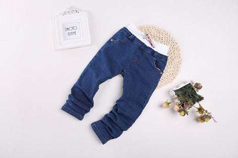 Top Sale Denim Pants Girl Toddler Denim Pants Free Shipping Slim Jeans For Kids Solid Jeans 2 Colors Children We Jeans Child