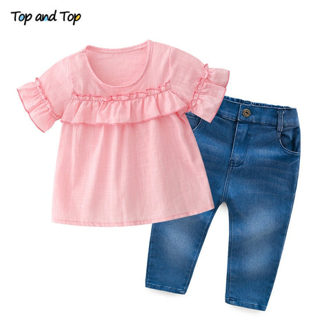 Fashion Kids Girls Clothing Sets Summer 2Pcs Cotton Short Sleeve T-shirt+Jeans Girls Tracksuit Set Children Clothes