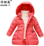 NEW 2017 Fashion Girls Winter Coats Female Child Down Jackets Outerwe Shiny Waterproof Medium-long Thick 90% Duck Down Parkas