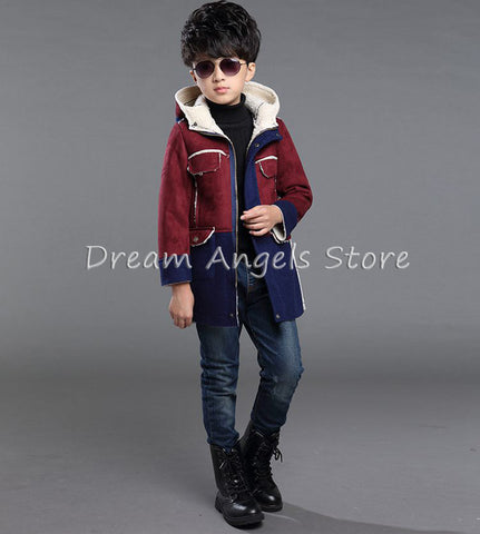 Top quality New Boys Winter Co Double Breasted Solid Navy Green Red Khaki Kids Nizi Coats Jacket Boys Children Outerwe