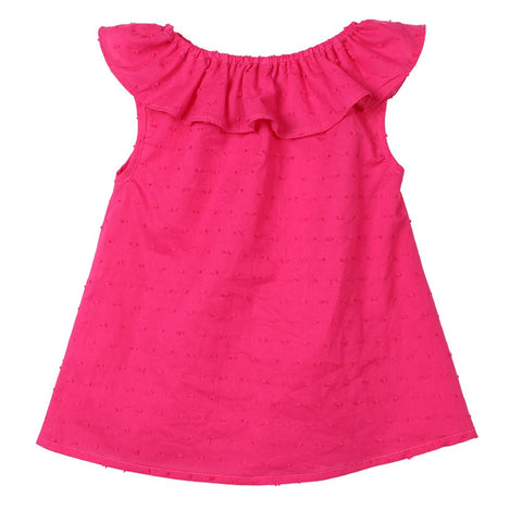 Sleeveless Solid Baby Girl T-shirts Lotus Leaf Collar A-line O-Ncek Toddler Top Blouse Baby Girls Clothing Kid T Shirt