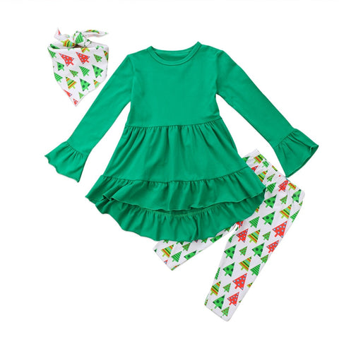 Trend Clothing Christmas Toddler Kids Baby Girls 2017 Long Sleeve Shirt Dress Green Ruffle Tops+Long Tree Pants Baby Clothes Set