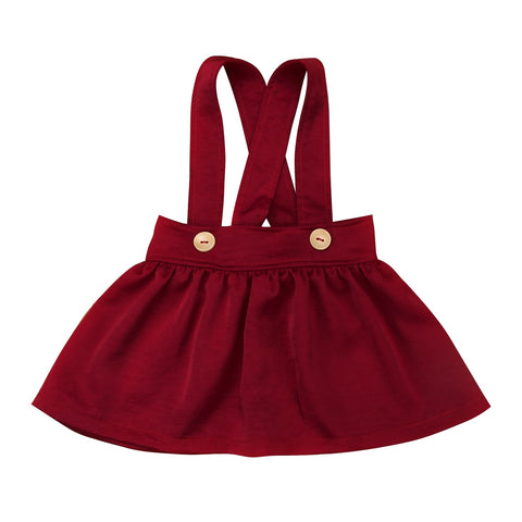 Trendy Kids Baby Girls Clothes solid Button strap High Waist cotton casual Toddler newborn cute Skirts one pieces