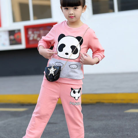 Autumn Baby Girls Clothing Sets Fashion Sports Suit Sets For Girl Cartoon Sweatshirt + Pant Sets Kids Childrens Clothes