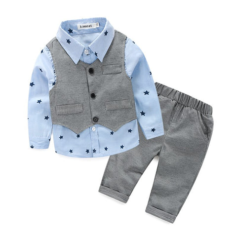 new style newborn baby gentlemen boy 3pcs/set clothing set shirt+vest+casual pants quality baby clothes