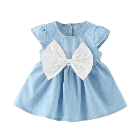WEIXINBUY 2018 Summer Baby Girls Dress Clothes Cotton Bowknot Fashion Cute Mini Denim Infant Newborn Girls Dresses