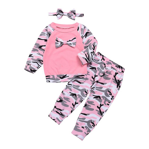 Newborn Baby Girls Clothes Set 3PCS Cute Bowknot T-shirt Tops+Camouflage Pants+Headband Girl Military Style Clothing