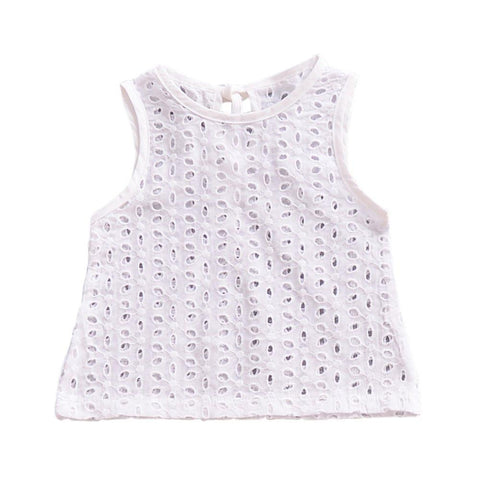Summer New Kid Baby Vest Tops Halter Shirt Fashion Casual T-shirts Cotton Clothes White For Baby Girls 0-24M