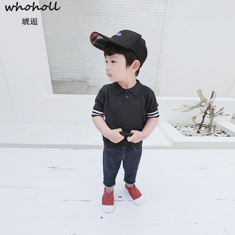Kid Clothes Baby Boy Knitted Sweater Baby Short Sleeved Boys Sweater Infant Sweater Solid Black White Children Clothing