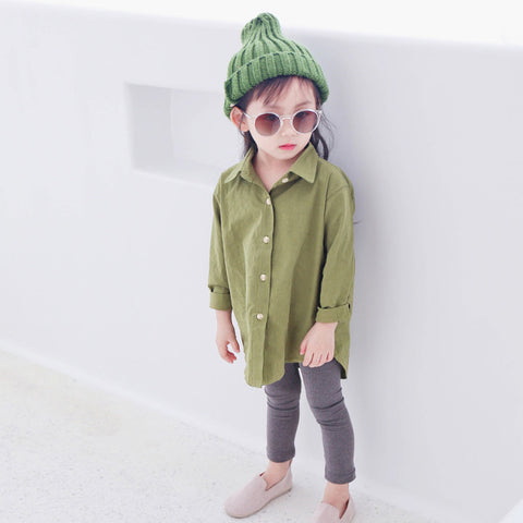 spring autumn fashion boys girls shirts kids casual loose long sleeve shirt baby long style green pink tops children