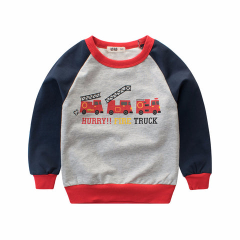 Children Brand 2018 Spring New Boys Girls Cotton Long Sleeve Tops O-neck Cars Print T shirts O-neck Toddler Clothing