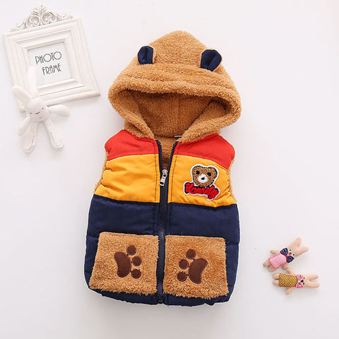 Warm 3D Bear Autumn Winter Girls Boys Waistcoat Children Bear Outerwear Clothing Baby Girl Kids Girls Vest Outwear