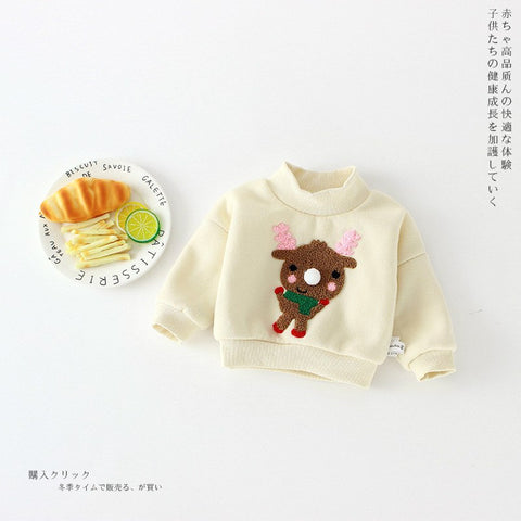 Warm Baby Autumn Winter Clothings Newborn Girls Boys Christmas Cartoon Pullover Tops Kid Brushed Undershirt Sweatshirts SY743
