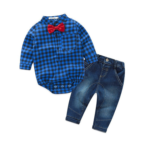 Warm Casual Cotton Baby Boys Clothing Sets Children Shirt Tops Jean Kids Clothes Suits