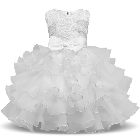 White Baby Petal Girl Dress Bebes Wedding 1 years Birthday Princess Dress Christening tutu dress kids Dresses For Girls Clothes