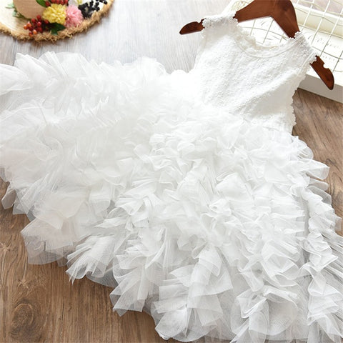White Baptism Petal Hem Tulle Princess Dress For Toddler Girls Pageant Clothes Scho Baby Girl Kids Dresses Children Clothing