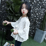 White Green Flare Sleeve Blouses for Baby Girls Long Sleeve fashion Children Scho Shirt Kids Teeange Blouses Clothes Tops