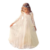 White Lace Dress Girls Flare Full Sleeve Girl Princess Dress Girl Wedding Dress Fancy Party Pageant Formal Dress