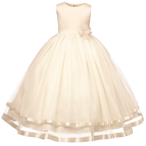 White Red Flower Girls Dresses Wedding Pageant Bridesmaid Gown Dresses First Communion Dresses Kids Dresses for Girls 4-14Y