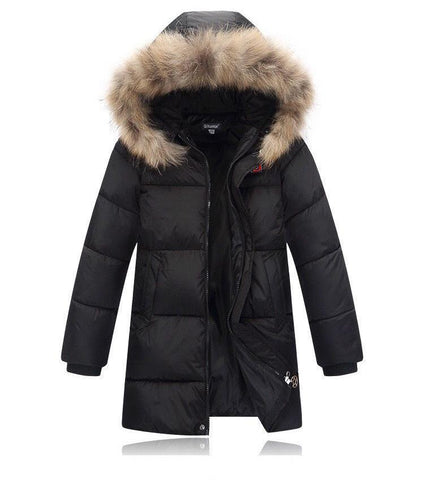 Winter 2017 Outwe Parka Down Coats For Kids Boys New Design Fashion Fur Coll Hooded Warm Jacket Casual Padded Cotton Clothes