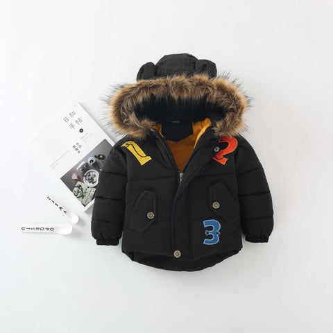 Winter Baby Boy Girls Jackets Co Kids Thicken Warm Cartoon Fur Hooded Outerwe Coats with Ears Infantil Baby Jacket for Girls