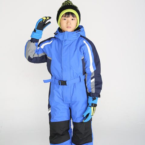 Winter Boys Girls Clothes Set Ski Suit Windproof Waterproof Children Snowsuit Kids Rompers Jumpsuits Snow We Fur Overall Blue