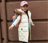 Winter Children Girls Down Jackets Thicken Fur Coll Hooded Child Down Coats Outerwe Overco Parkas 7-14 girl boys clothes