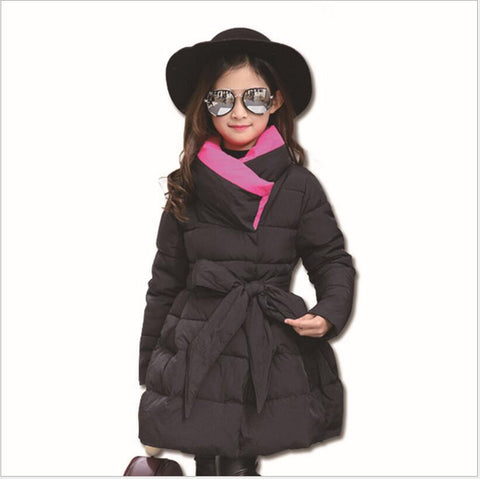 Winter Co For Girls Bow Waistband Warm Jacket Kid Thick Princess Down Children Outdoor long Parka Clothes Suit For Girl 2018