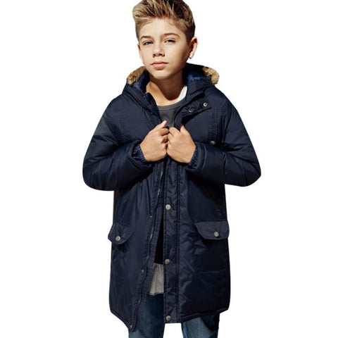 Winter Co For Teenagers Boys Girls Parkas Down Jacket Coats with Faux Fur Hooded Winter Warm Thick Padded Coats H232