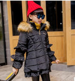 Winter Co Korean Children's New Girl Child Long Sleeve Lace Thick Fur Coll Cotton Girls Down Coat