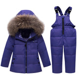 Winter Girls Clothing Sets Ski Suit Boys Fur Hooded Clothes Down Girl Jacket Coat+ Jumpsuit Set Warm Outerwe Kids Baby Overall
