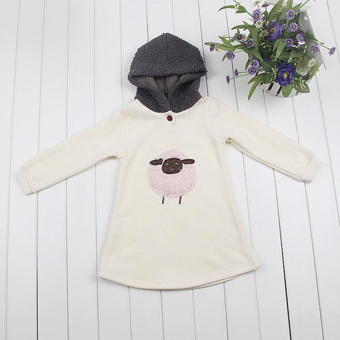 Winter Girls Dress 3 4 5 6 7 8 Ye Hooded Thicken Warm Kids Dresses for Girls Cute Cartoon Pattern Children Clothing