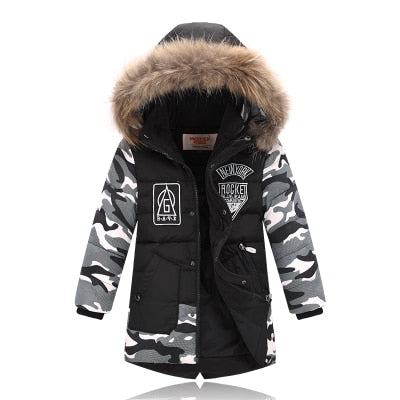 Winter Jacket For Boy Real Fur Hooded Down Jacket 2-10Y Kids Boys Casual Warm Thicken Children Winter Outerwe & Coats