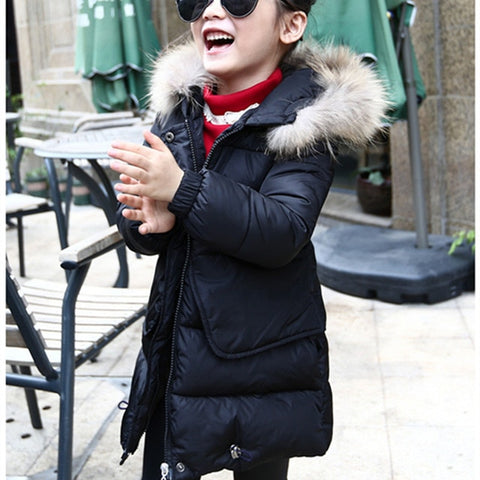 Winter Jacket For Girls Fur Hooded Baby Girls Winter Co Long Cotton-Padded Parka Down Thick Teens Kids Children's Outerwear