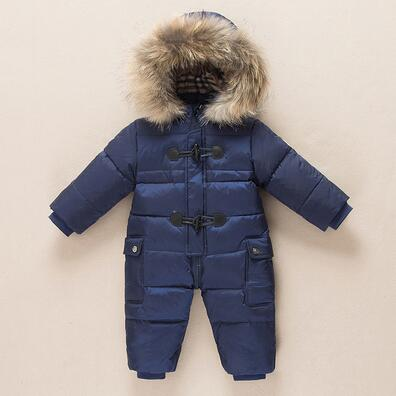 Winter New born Baby Clothes Conjoined Down Jacket Baby Boys Girls Thickening Jumpsuits with Real Fur Kids Snow Suit 0-3 Years
