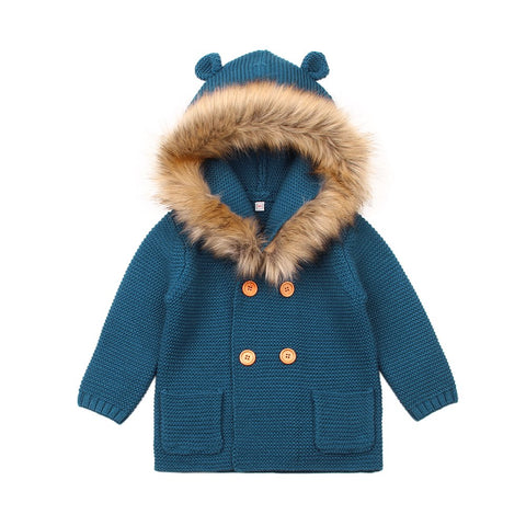 Winter Warm knitted wool baby jacket with Detachable fur collar great cardigan Knitwear for newborn infant  baby age 0-2 years
